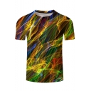 New Fashion Unique Colorful Line 3D Printed Classic Fit T-Shirt
