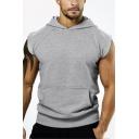 Mens New Fashion Simple Plain Sleeveless Sport Cotton Hoodie