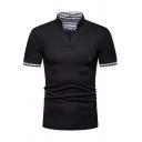 Mens Stylish Plaid Patched Short Sleeve Henley V-Neck Slim Fit Polo Shirt