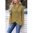 Womens Hot Fashion Solid Color Long Sleeve Button Side Irregular T-Shirt