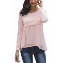 Womens Simple Plain Round Neck Long Sleeve Chiffon Patched Pink T-Shirt
