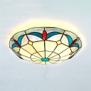 Living Room Circle Flush Mount Light 3 Lights Vintage Style Stained Glass Ceiling Light
