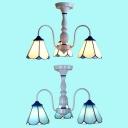 3 Lights Cone Semi Flush Light Traditional Blue/White Glass Ceiling Lamp for Bedroom