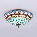 Living Room Bowl Ceiling Light Stained Glass Tiffany Style Flush Mount Light