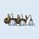 Cone Restaurant Wall Sconce Metal 3 Lights Antique Style Wall Lamp with Mermaid Decoration