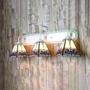Stained Glass Trapezoid Sconce Light 3 Lights Tiffany Style Wall Lamp for Restaurant Bar