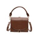Chic Solid Color PU Leather Crossover Handbag 20*6*16 CM