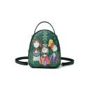 New Collection Comic Figure Floral Printed Multipurpose Green Crossbody Shoulder Bag Backpack 18*7*20.5 CM