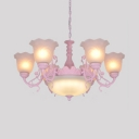 Dome Living Room Pendant Lamp Frosted Glass 6 Lights Traditional Chandelier in Black/Blue/Pink/White