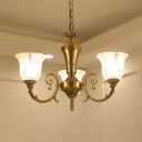 3 Lights Bell Hanging Light Vintage Clear Glass Metal Pendant Light in Brass for Bedroom