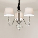 Bedroom Drum Shade Pendant Lamp Metal Fabric 3/6 Lights Modern Style Chrome Chandelier with Crystal