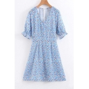 Summer Girls French Style Floral Printed V-Neck Light Blue Mini A-Line Dress