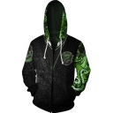 New Trendy Fashion Animal Badge Logo Long Sleeve Zip Up Loose Casual Black Hoodie