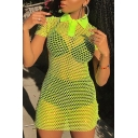 Women's Sexy Trendy Lapel Collar Short Sleeve Hollow Out Mesh Mini Green Dress