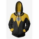 New Fashion 3D Colorblock Yellow and Black Long Sleeve Zip Up Drawstring Hoodie