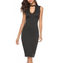 Summer Hot Fashion Plain Print Cut Out Round Neck Sleeveless Midi A-Line Black Dress