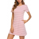 Women's Hot Fashion Striped Printed Round Neck Short Sleeve Crisscross Back Mini T-Shirt Dress