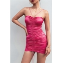 Women's New Style Sexy Halter Sleeveless Simple Plain Backless Mini Bodycon Rose Red Dress