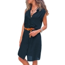 New Trendy Plain Print Sleeveless Lapel Collar Belted Waist Button Down Mini Shirt Dress For Women