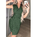 Women's Hot Fashion Print Button Detail V-Neck Split Side Sleeveless Mini Tank Dress