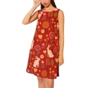 Women's New Trendy Cartoon Print Round Neck Sleeveless Mini Tank Linen Dress