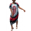 Hot Fashion Lip Tie-dye Printed Round Neck Short Sleeve Maxi Dress For Women