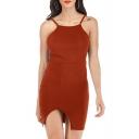 Women's New Stylish Square Neck Sleeveless Plain Print Backless Mini Cami Dress