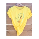 Funny Abstract Figure Face Printed Basic Round Neck Short Sleeve Cotton Tee