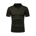 Men's Basic Simple Plain V-Neck Short Sleeve Fitted Henley Shirt