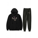 New Stylish Leaf Dragon Print Hoodie Top Sweatpants Bottom Casual Sport Two-Piece Set