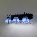 Glass Cone Shade Wall Light Living Room 3 Lights Mediterranean Style Sconce Light in Blue