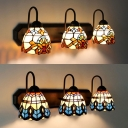 3 Lights Dome Wall Sconce Baroque/Victoria Stained Glass Wall Light for Bedroom Hallway
