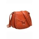 Designer Solid Color Floral Hollow Out Western Crossbody Saddle Bag 20*9*18 CM