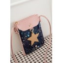 Trendy Galaxy Starry Sky Star Printed Long Strap Crossbody Cell Phone Purse 13.5*2*18 CM