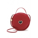 Trendy Heart Patched Quilted Portable Circle Crossbody Bag 18*5*18 CM