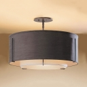 Fabric Drum Semi Flush Mount Light Dining Room 3/4 Lights Rustic Style LED Light Fixture in Black