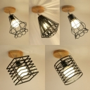 Singe Light Caged Semi Flush Light Vintage Style Rotatable Ceiling Light for Foyer
