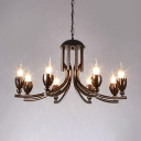 Black Candle Chandelier Metal 8 Lights Vintage Hanging Lights for Dining Room