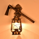Single Light Kerosene Hanging Lamp Industrial Metal Sconce Light in Bronze for Restaurant