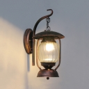 Rust Kerosene Hanging Lamp Single Light Swirl Glass Wall Light Fixture for Front Door