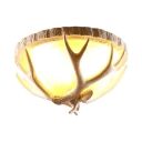 Rustic Style White Ceiling Light Fixture with Domed Shade and Antlers 3 Lights Resin and Glass Flush Light