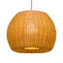 Vintage Curved Pendant Lighting Bamboo Single Light Beige Hanging Light for Hallway Dining Room
