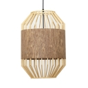 Beige Birdcage Shape Pendant Lighting Single Light Vintage Style Rattan Ceiling Fixture for Bedroom