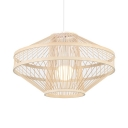 Vintage Style Ceiling Light Fixture Bamboo Single Light Beige Hanging Light for Kitchen Restaurant