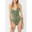 New Fashion Green Leopard Pattern Tied Up Side Spaghetti Straps One Piece Swimsuit