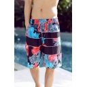 Fashion Floral Letter STYLE Print Men's Drawstring Waist Beach Black Swim Trunks