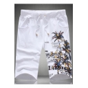 Summer Hawaii Tropical Plants Printed Drawstring Waist Beach Shorts Swim Trunks