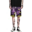 Trendy Purple 3D Printed Drawstring Waist Mens Casual Loose Swim Trunks