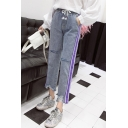 Women's Fashion Drawstring Waist Stripe Side Ripped Straight Fit Light Blue Jeans