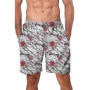New Fashion Rose Floral Pattern Mens Beach Casual Loose Swim Shorts